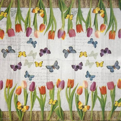 Paper Napkin - Spring Collage Grey