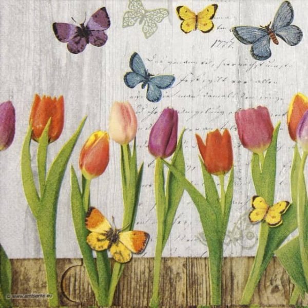 Paper Napkin - Spring Collage Grey