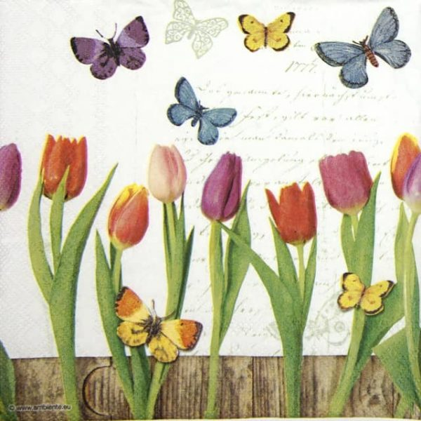 Paper Napkin - Spring Collage White