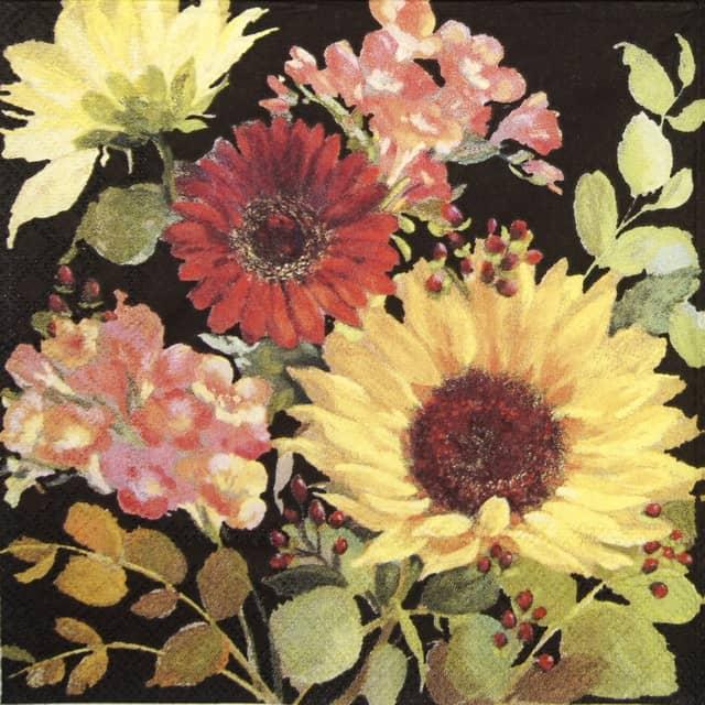 Paper Napkin - Sunny Flowers Black