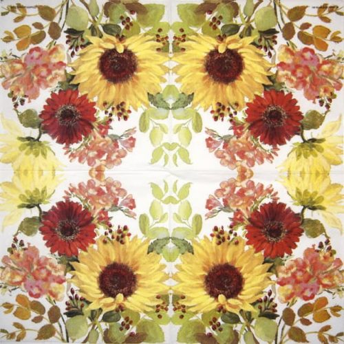 Cocktail Napkins (20) - Sunny Flowers Cream