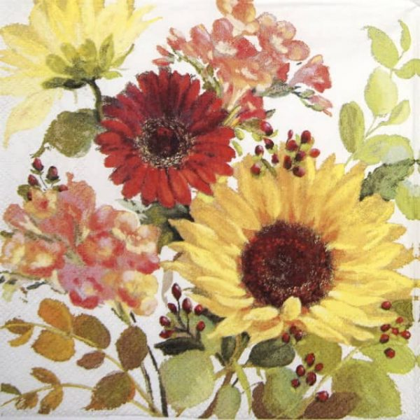 Cocktail Napkins (20) - Sunny Flowers Cream