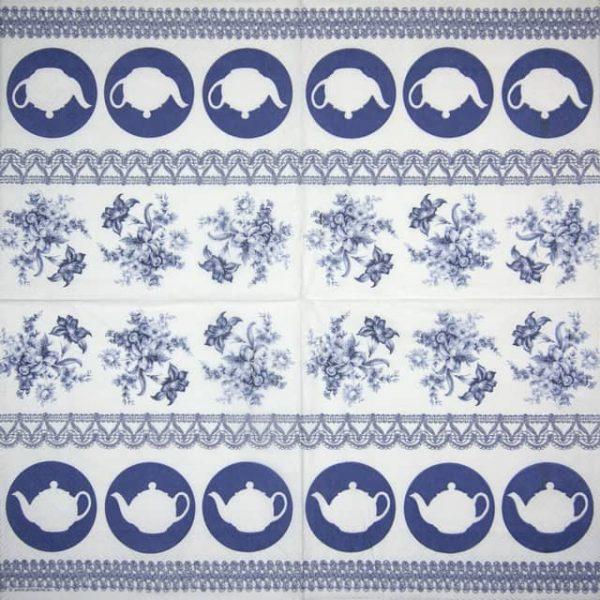 Paper Napkin - Teapots Blue