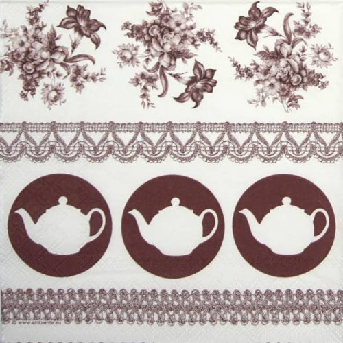 Lunch Napkins (20) - Teapots Brown