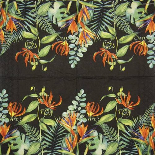 Lunch Napkins (20) - Tropical Floral Black
