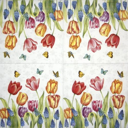 Cocktail Napkin - Tulips & Muscari