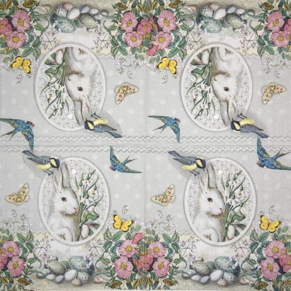 Paper Napkin - White Rabbit  grey