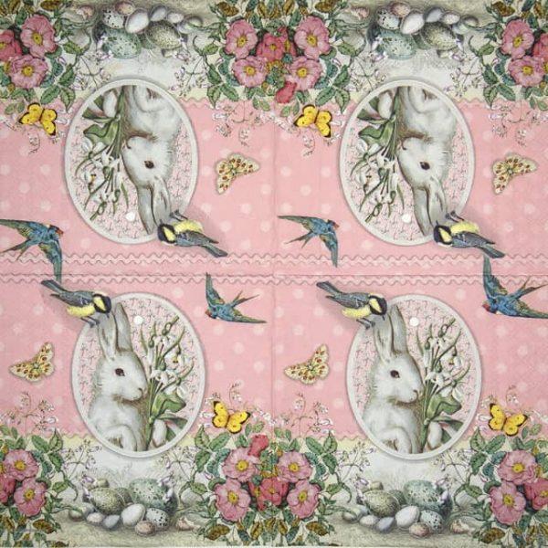 Paper Napkin - White Rabbit  yellow rose
