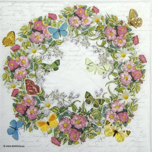 Paper Napkin - Wreath of Flowers