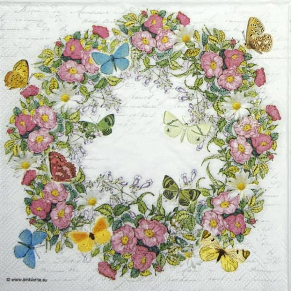 Lunch Napkins (20) - Wreath of Flowers