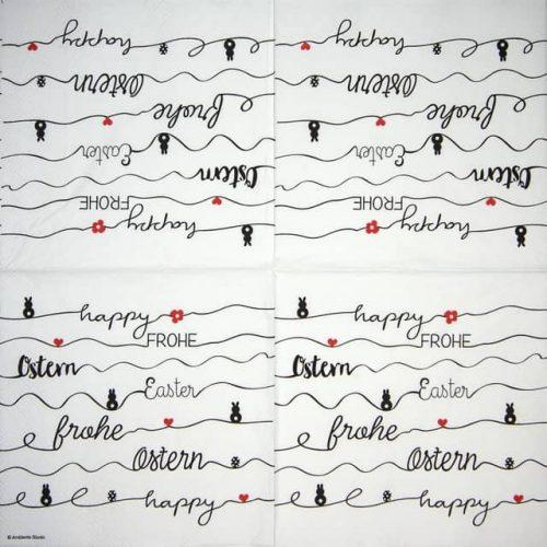 Paper Napkin - Easter Line white