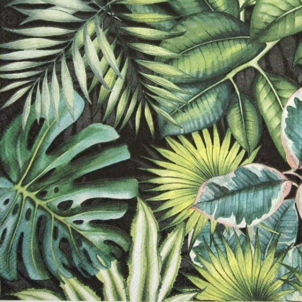 Cocktail Napkin - Tropical Leaves Black