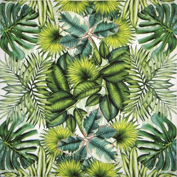 Cocktail Napkins (20) - Tropical Leaves White