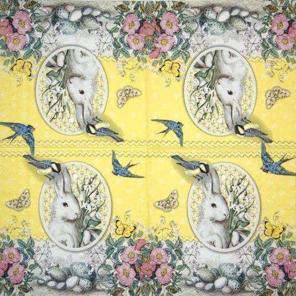 Lunch Napkins (20) - White Rabbit  yellow