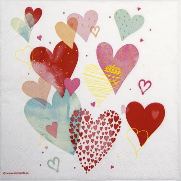 Cocktail Napkins (20) - With Love White