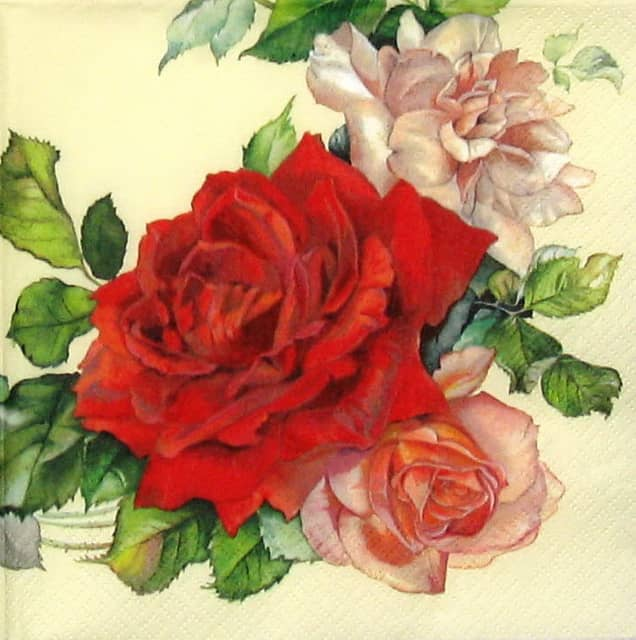 Cocktail Napkin - Rose Wreath