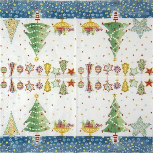 Lunch Napkins (20) - Cheery Christmas blue