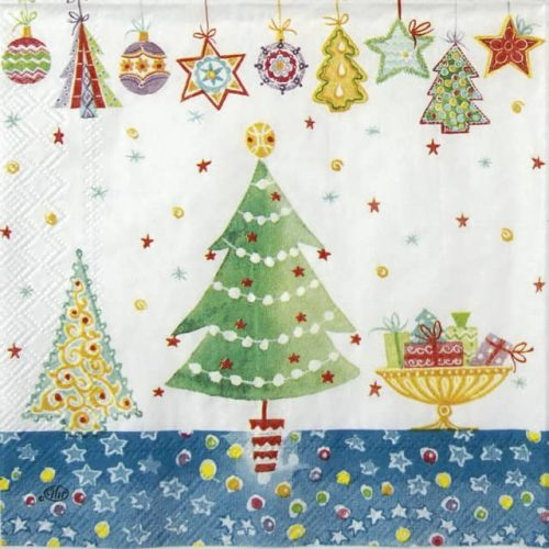Cocktail Napkins (20) - Cheery Christmas blue