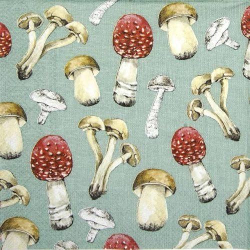 Paper Napkin - County Mushrooms green