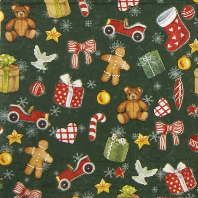 Cocktail Napkins (20) - Festive  Christmas Toys green