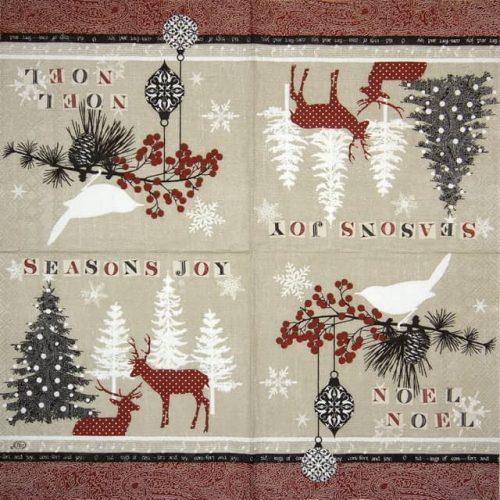 Paper Napkin - Noel Noel red