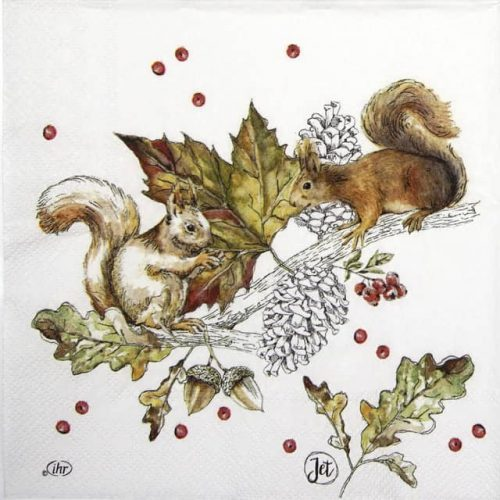 Paper Napkin - Squirrels and berries