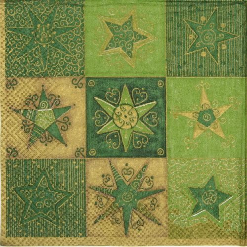 Cocktail Napkin - Twinklink stars green