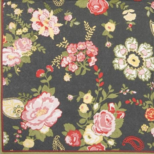 Paper Napkin - Wallpaper with roses graphite