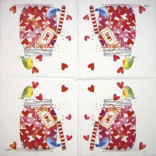 Lunch Napkins (20) - Carola Pabst: Jar of Hearts