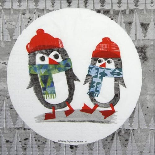 Paper Napkin - Tracey English: Silver Penguins