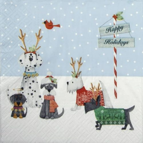 Paper Napkin - Holiday Puppies