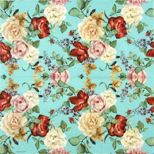 Paper Napkin - Roses Blue