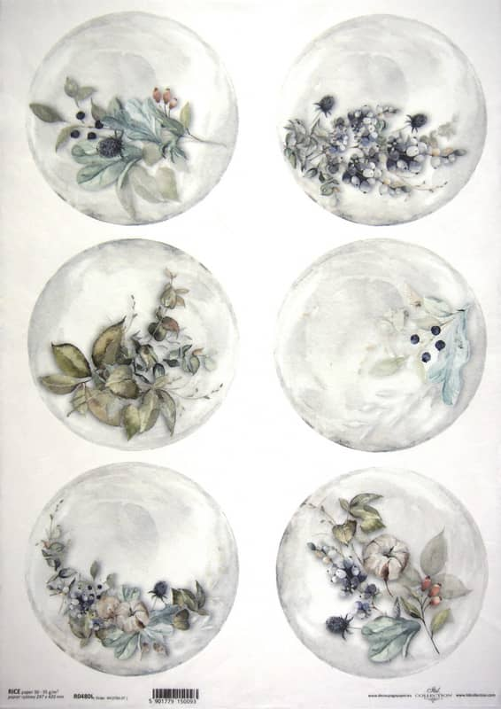 Rice Paper A/3 - White Flowers
