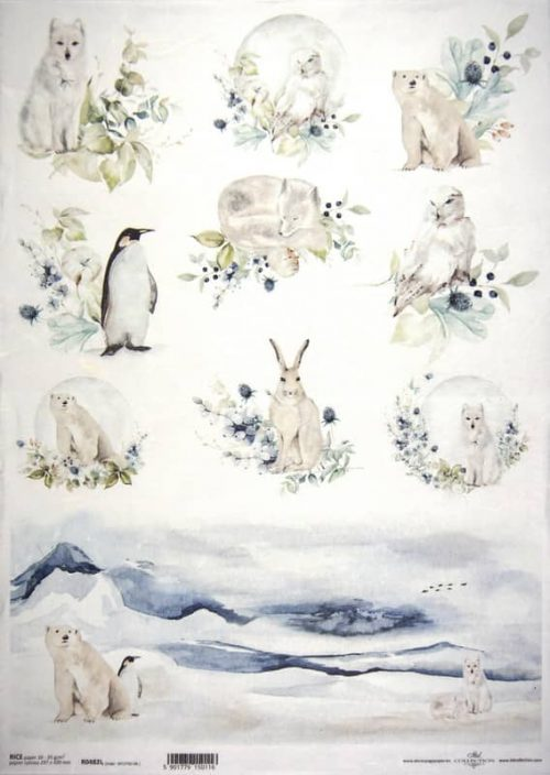 Rice Paper A/3 - White Animals Landscape