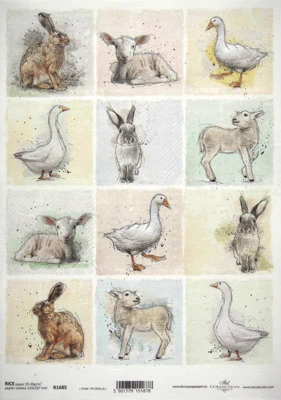 Rice Paper -  Animal Farm Cards with goose
