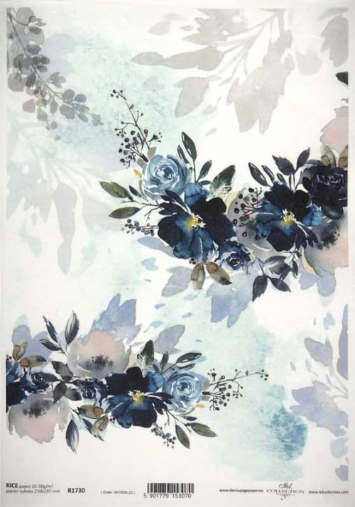Rice Paper - Blue Bouquet