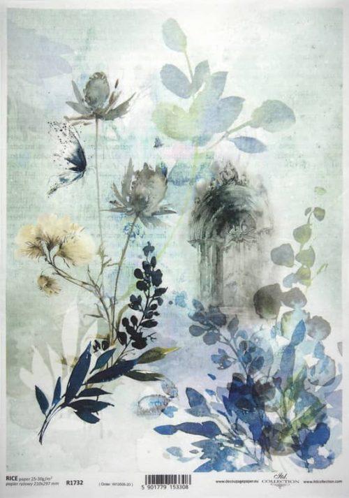 Rice Paper - Blue Garden