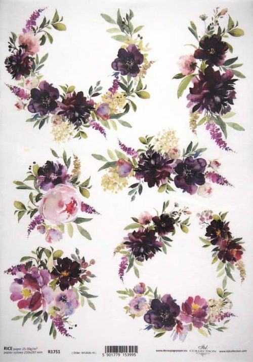 Rice Paper - Purple Flowes