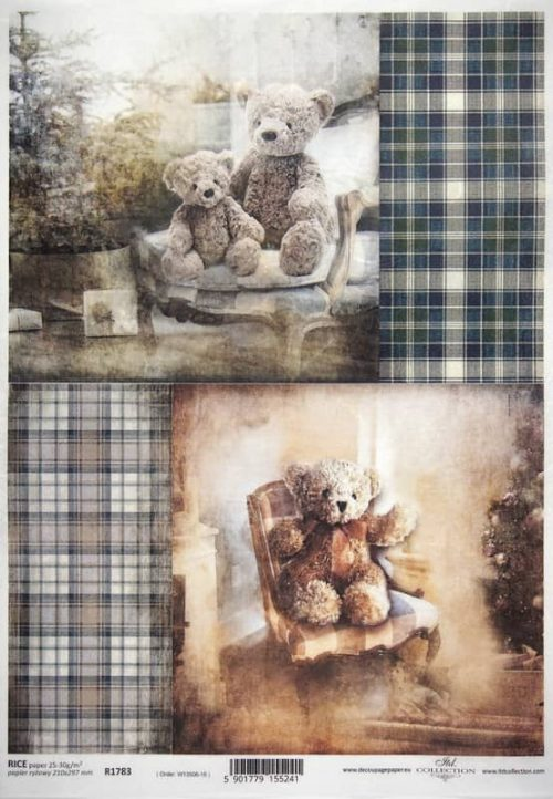 Rice Paper A/3 - Christmas Teddy grey