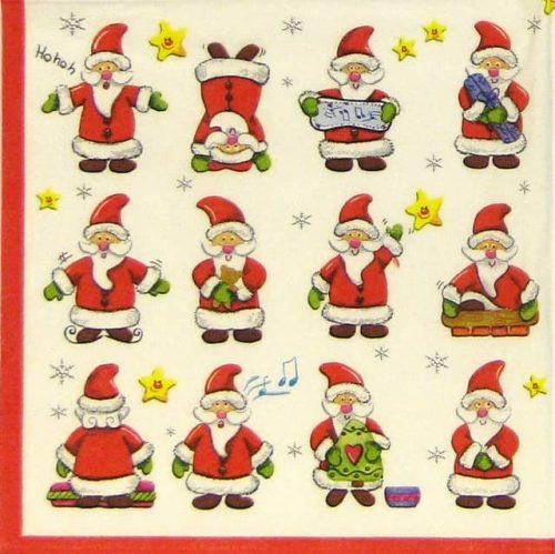 Paper Napkin - Funny Santas