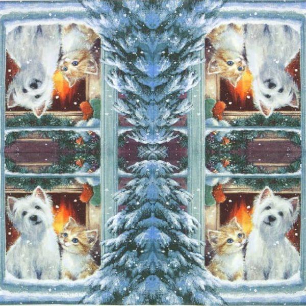 Paper Napkin - Westie & Kitty