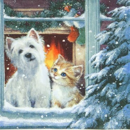 Paper Napkin - Westie & Kitty