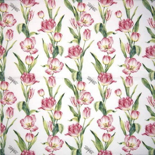 Paper Napkin - Chaînes de Tulipes pink
