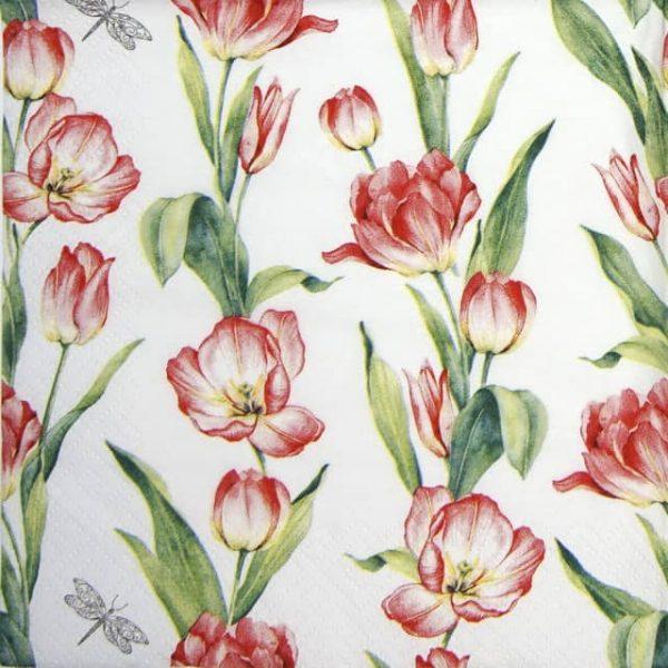 Paper Napkin - Chaînes de Tulipes red