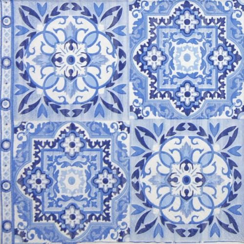 Lunch Napkins (20) - Tiles Blue