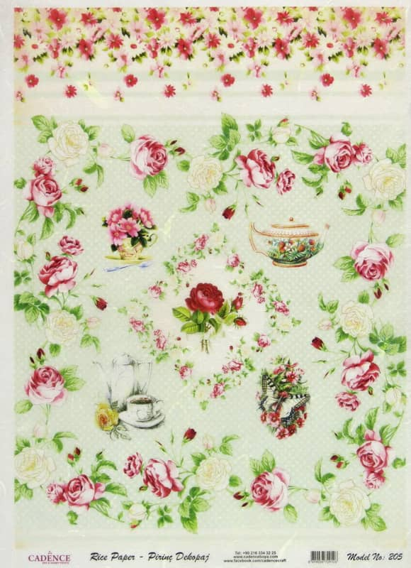Rice Paper - Roses and Pots