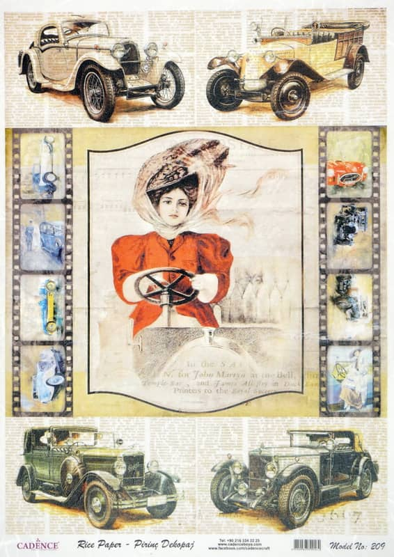 Rice Paper - Oldsmobile Cars Lady
