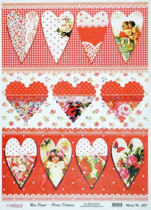 Rice Paper - Romantic Red Hearts