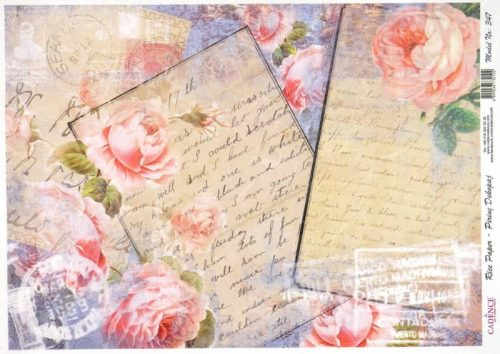 Rice Paper - Roses and Letter