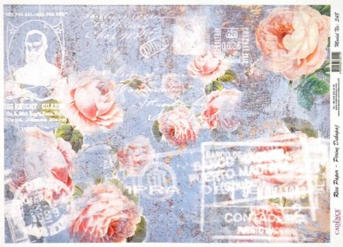 Rice Paper - Roses on Blue